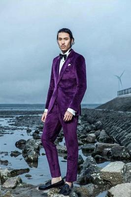 Purple Velvet Peak Revers Costume de mariage sur mesure pour le marié | Costumes simples modernes à un seul bouton_5