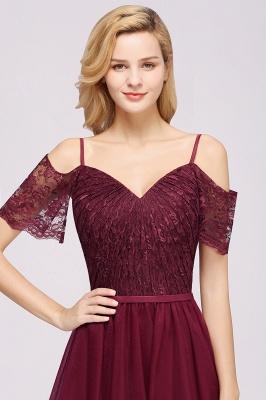 Chiffon Lace Sweetheart Spaghetti Straps Short-Sleeves Floor-Length Bridesmaid Dresses with Ruffles_5