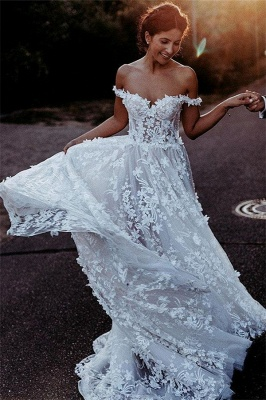 Latest Cheaps Off The Shoulder Wedding Dresses | Lace Appliques See Through Sleeveless Cheap Bridal Gowns_2