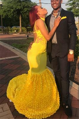 Yellow Halter Backless Sleeveless Applique Sexy Mermaid Evening Dresses_2