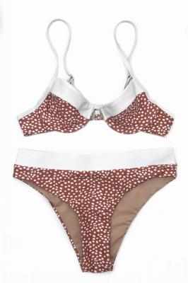 White Dots Two Piece Pads Spaghetti Straps Sexy Bikinis_1