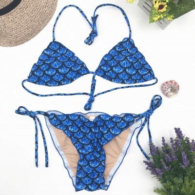 Fish-scale Patterns Two Piece Bandage  Sexy Bikini Sets_5