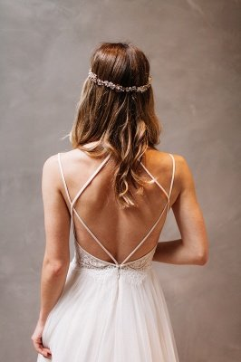 Elegant Lace Crystals Spaghetti Straps Wedding Dresses | See Through Lace Up Sleeveless Cheap Bridal Gowns_4