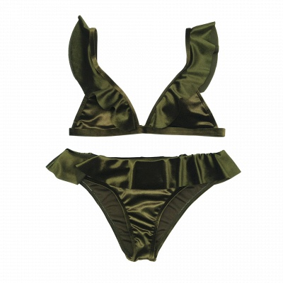 Silky  V-neck Draped Two Piece Sexy Bikini Sets_16