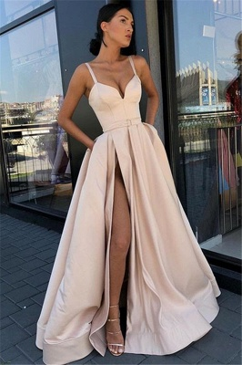 Glamorous Spaghetti-Straps Sleeveless Side-Slit  Prom Dress_1