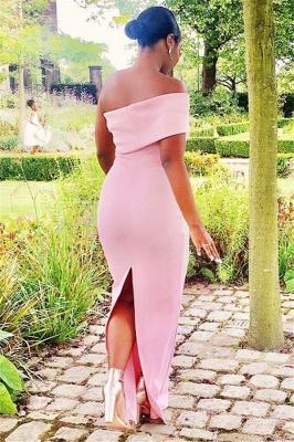 Off-the-shoulder Pink Floor Length Sexy Mermaid Bridesmaid Dresses_3