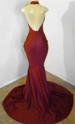 Burgundy Halter Appliques Sleeveless Open Back Mermaid Long Prom Dresses Cheap_2