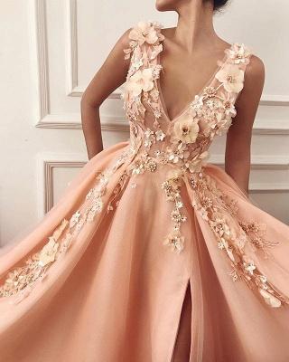 Chic Appliques Straps V-Neck Flower  Prom Dress_2