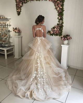 Latest Appliques Sexy  See Through Wedding Dresses | Spaghetti Straps Sleeveless Open Back Cheap Bridal Gowns_3