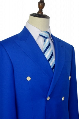 Royal Blue Double Breasted Wool Custom Suit | Fashion Peak Lapel Six Button Groom Wedding Tuxedos_6