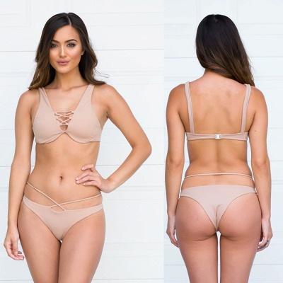 Lace-up Bandage Plain Two Piece Sexy Bikini Beachwears_20