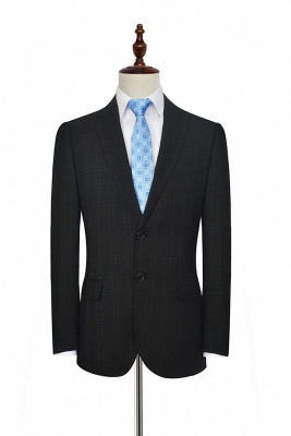 Black Plaid Two Standard Pocket Custom Suit For Formal   Fashion Peaked Lapel Single Breasted Wedding Groom Suits_3