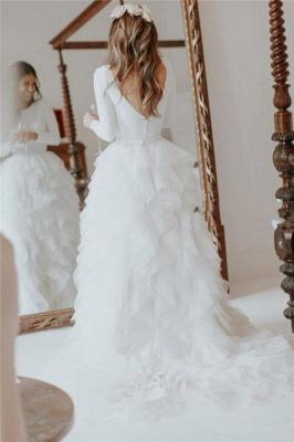Elegant Appliques Cheap Wedding Dresses | Side Slit  Mermaid Sleeveless Flowers Bridal Gowns_5