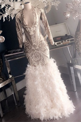Glamorous Appliques Fur V-Neck Long Sleeve Mermaid Long Prom Dresses Cheap_2
