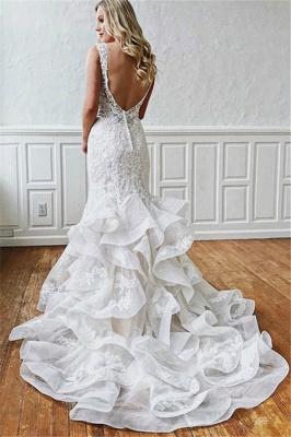 Latest Lace V-Neck Sexy Mermaid Wedding Dresses   Illusion Ruffles Sleeveless Backless Bridal Gowns_2