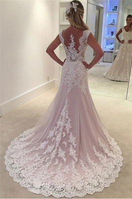 Gorgeous Pink Lace Appliques Wedding Dresses | Sleeveless Cheap Bridal Gowns_2