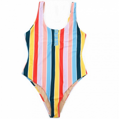One Piece Buttons Straps Colorful Stripes Swimwear_6