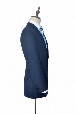 Dark Grey Blue Notched Lapel Custom Suit For Men | Fashion Single Breasted Two Botton Business Men Suit_5
