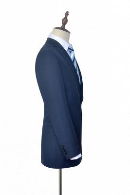 Gris foncé bleu côtelé revers costume pour hommes | Costume unique deux hommes d'affaires botton de la mode_5