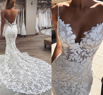 Latest Appliques Spaghetti Straps Wedding Dresses | Open Back  Mermaid Sleeveless Cheap Bridal Gowns_2