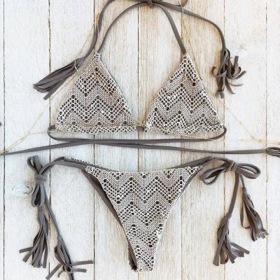 Lace Triangle Cut-outs Halter Sexy Bikini Swimwear_4