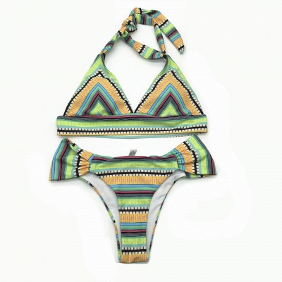 Multicolor Patterned Halter Knot Two Piece Swimwear_3