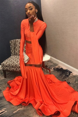 Sexy Orange Long-Sleeves High-Neck Sexy Mermaid Long Prom Dress_1