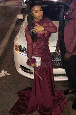 Burgundy High-Neck Long-Sleeves Sheer-Tulle Applique Prom Dress_2