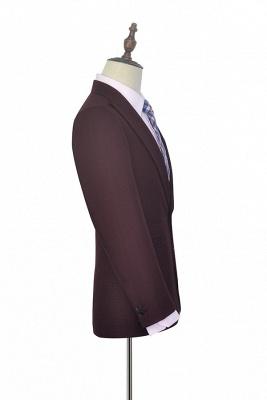 Costume sur mesure de revers de petite grille rouge foncé foncé pour hommes | Nouveau costume simple à un bouton homme d'honneur garçons d'honneur hommes_4