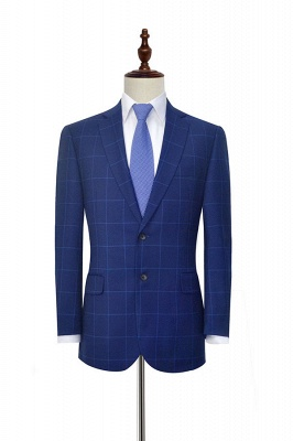 Blue Plaid Notched Lapel Custom Suit for Men | Latest Design Single Breasted Two Pockets Hand Made Men Suit_3