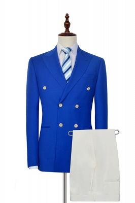 Costume en laine à double boutonnage bleu royal | Smokings de mariage marié à six boutons