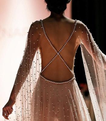 Glamorous Pink Sheer-Tulle Backless Beading  Prom Dress_2