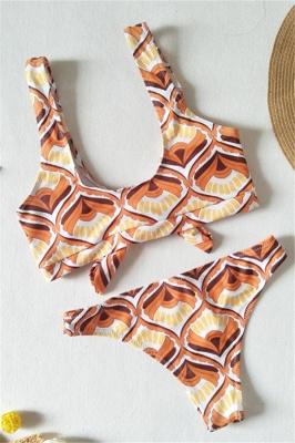 Totem Patterns V-neck Knot Straps Two Piece Sexy Bikini Sets_6