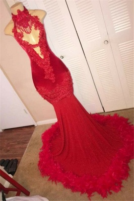 Sexy Mermaid Red Prom Dresses with Feather   Sleeveless Lace Appliques Prom Gowns on Mannequins_1