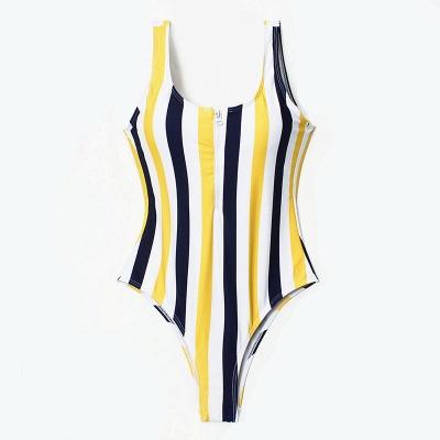 One Piece Zipper Stripes Straps Swimwear Suits_6