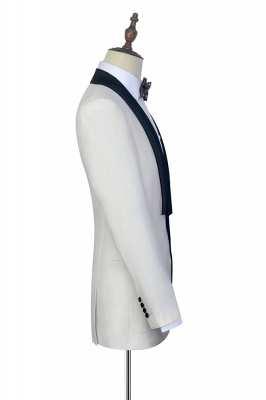 White Shawl Collar Single Breasted Wedding Suit   New Arrival 2 Pocket Custom Suit For Men_5