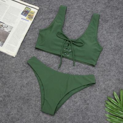Ensembles de bikini taille haute à lacets en deux parties à lacets_6