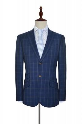 Costume de mariage de collier de châle de laine bleu foncé pour le marié | Nouvelle arrivée simple boutonnage costume sur mesure hommes_3