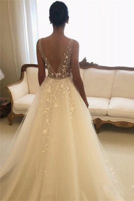 Elegant See Through Straps Appliques Wedding Dresses | Sexy Sleeveless Cheap Bridal Gowns_2