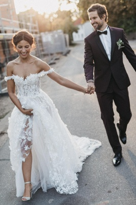 Latest Cheaps Off The Shoulder Wedding Dresses | Lace Appliques See Through Sleeveless Cheap Bridal Gowns_3