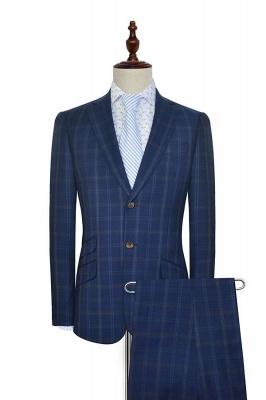 Costume de mariage de collier de châle de laine bleu foncé pour le marié | Nouvelle arrivée simple boutonnage costume sur mesure hommes_1