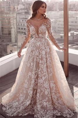 Elegant Lace Appliques Wedding Dresses   Long Sleeve Cheap Bridal Gowns_1