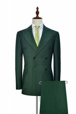 Green Double Breasted Tailored Suit For Formal | Peaked Lapel 3 Pockets Custom Made Causal Suit_1