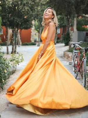 Glamorous Orange Spaghetti-Straps Sleeveless V-Neck  Prom Dress_3