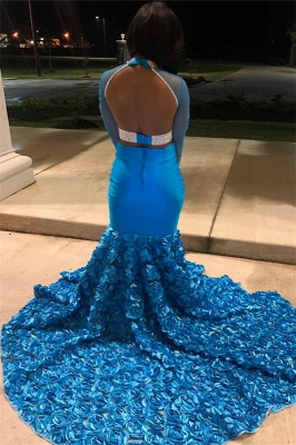 Glamorous Blue Sheer Tulle Lone-Sleeves Flower Applique Sexy Mermaid Prom Dresses_2