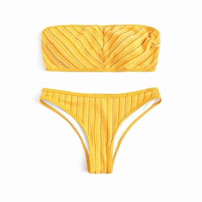 Bandeau Strapless Stripes Two Piece Sexy Bikini Sets_10