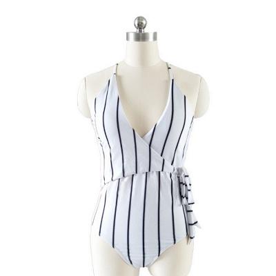 One Piece Stripes V-neck Hollow Back Swimwear_3