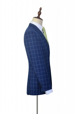 Newly Deep Blue Grid Wool Peak Lapel Custom Made Suit | Single Breasted Two Button Unique Wedding Suit For Groom_5