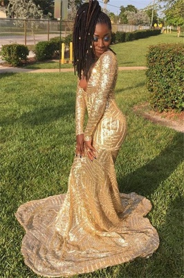 Gold Long-Sleevees V-Neck Sequins Sexy Mermaid Prom Dresses_1