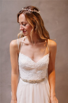 Elegant Lace Crystals Spaghetti Straps Wedding Dresses | See Through Lace Up Sleeveless Cheap Bridal Gowns_2